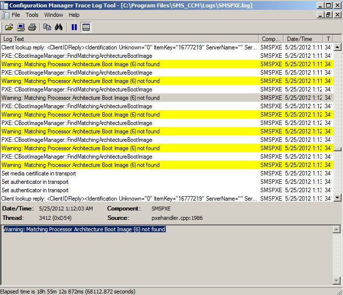 Configuration Manager is looking for policy error in SCCM sccm pxe boot not working
