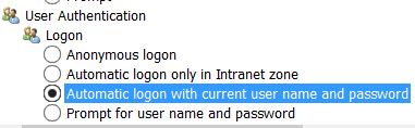 Automatic logon with current user name and password