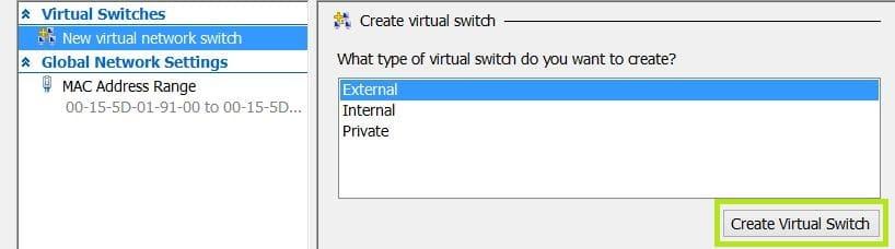 start pxe over ipv4 hyper-v - Configure Virtual Switch Step 2