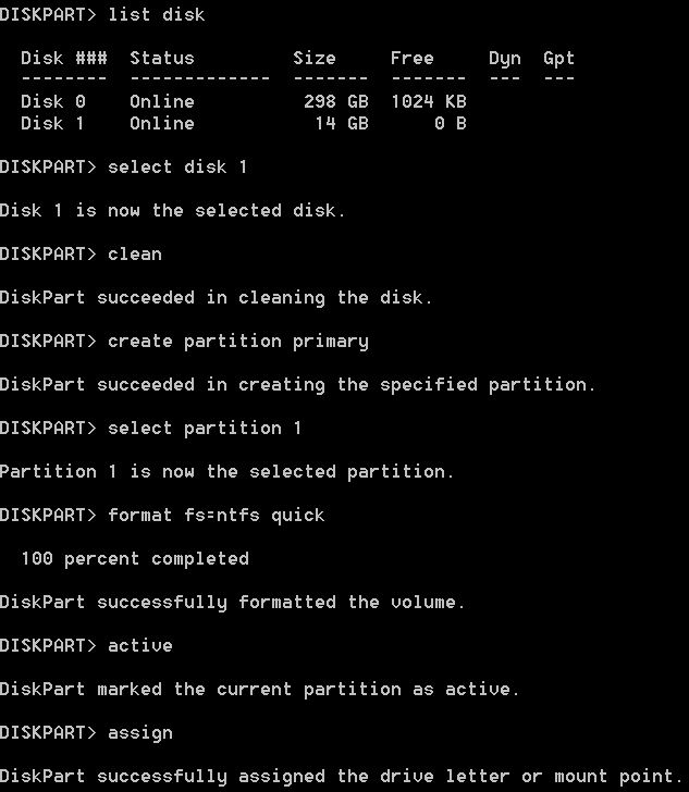 Using Diskpart in Windows 10