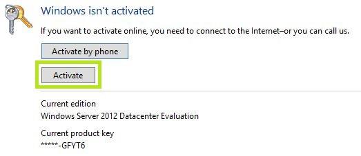 Activate Windows Server 2012