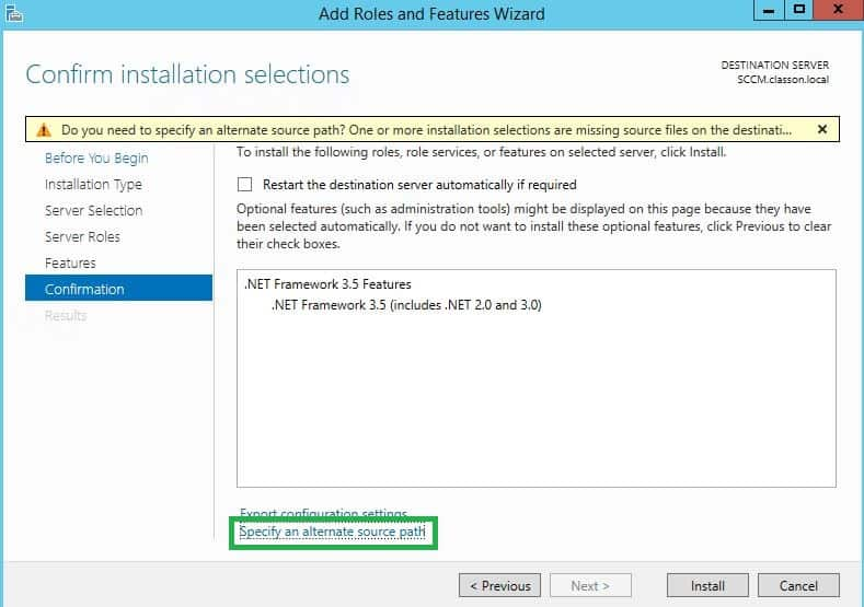Specify an alternate source path when installing .NET Framework 3.5