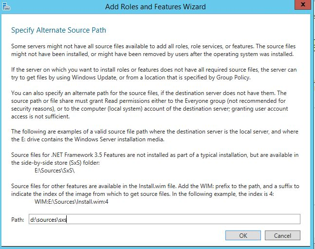Specify alternate source path windows server 2012 .net framework 3.5