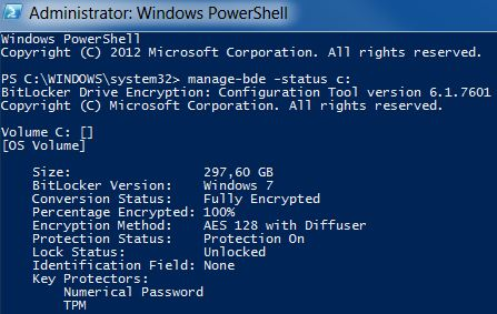 Bitlocker encryption status Powershell