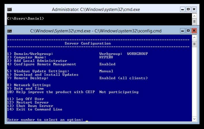 sconfig Windows Server 2012