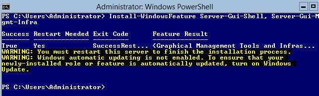 Add GUI to Windows Server Core installation using Powershell and server-gui-mgmt-infra