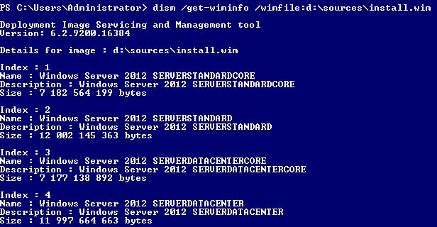 dism Windows Server 2012 GUI Powershell Index Datacenter