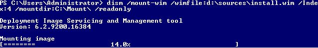 Dism Windows Server 2012 Mount Datacenter GUI Powershell