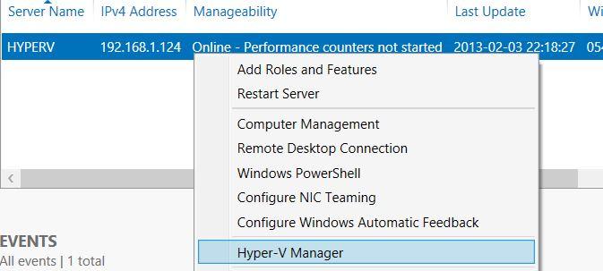 Hyper-V Manager Server Manager Windows Server 2012