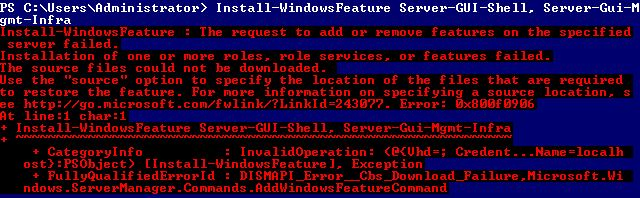 Installation failed source Windows Server 2012 Powershell