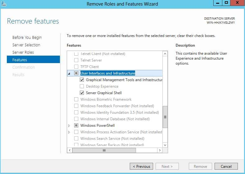 Remove GUI Windows Server 2012 Core