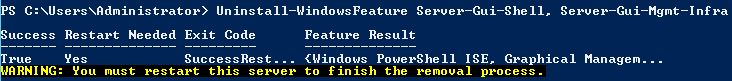 Remove GUI Server Core Windows Server 2012 Powershell