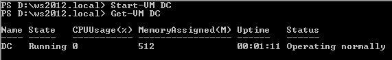 Start Virtual Machine Powershell Windows Server 2012 Hyper-V