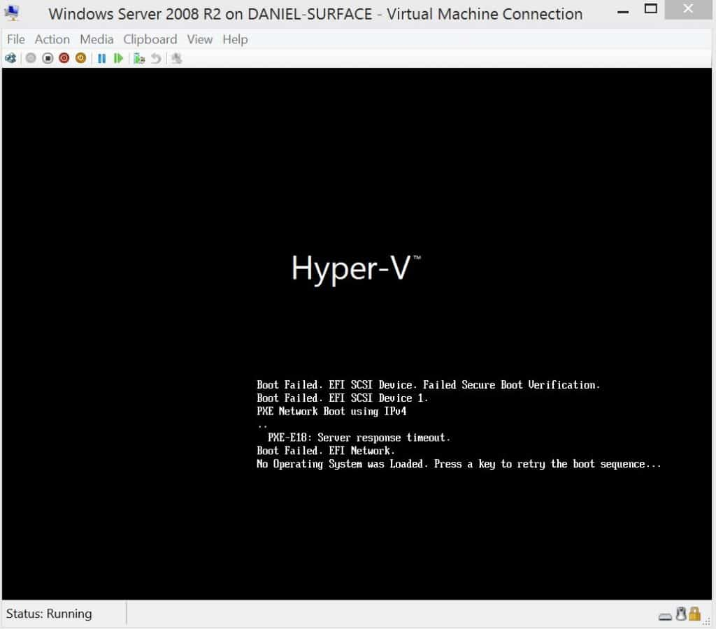 Hyper-V fails to boot EFI