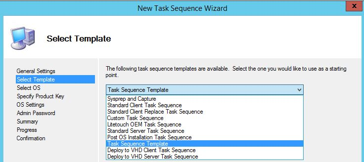 Select MDT task sequence template