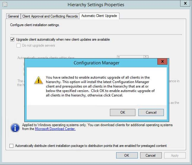 Automatic Client Upgrade SCCM 2012 R2 SP1