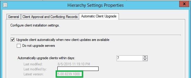 Automatic Client Upgrade SCCM 2012 R2 SP1