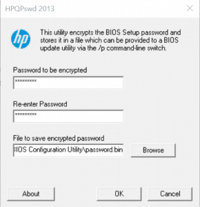 Create an encrypted password for HP BIOS Configuration Utility with HPQPswd64.exe