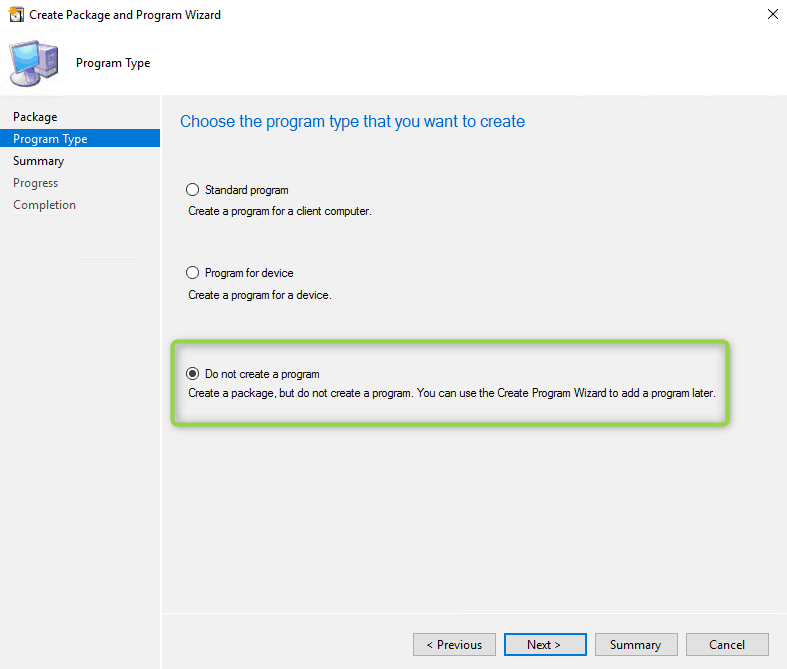 Do not create a program when creating a package in SCCM hp bios configuration utility