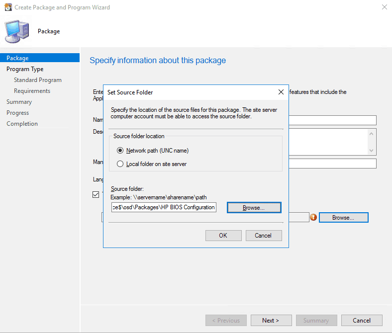 Configure source path when creating a package in SCCM