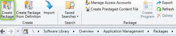 Create package in SCCM