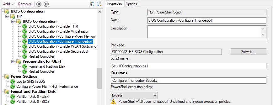 Configure Thunderbolt in Task Sequence in SCCM
