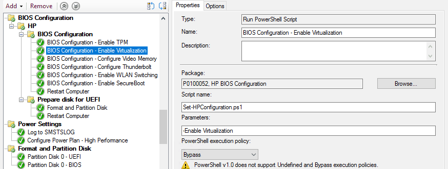 Enable virtualization in Task Sequence in SCCM