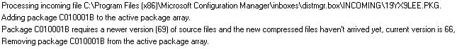 Difference between package version and stored package version in SCCM