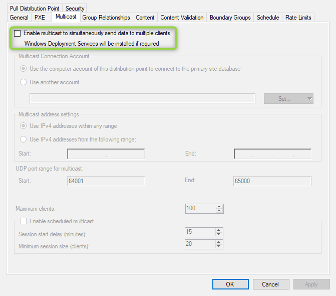 Multicast and SCCM - Enable multicast on a Distribution Point