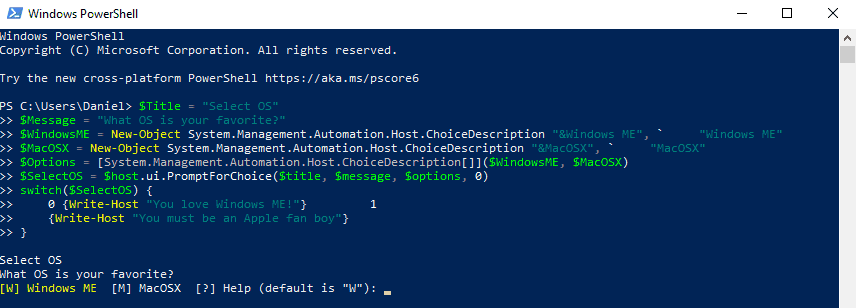 Create a menu selection script in Powershell