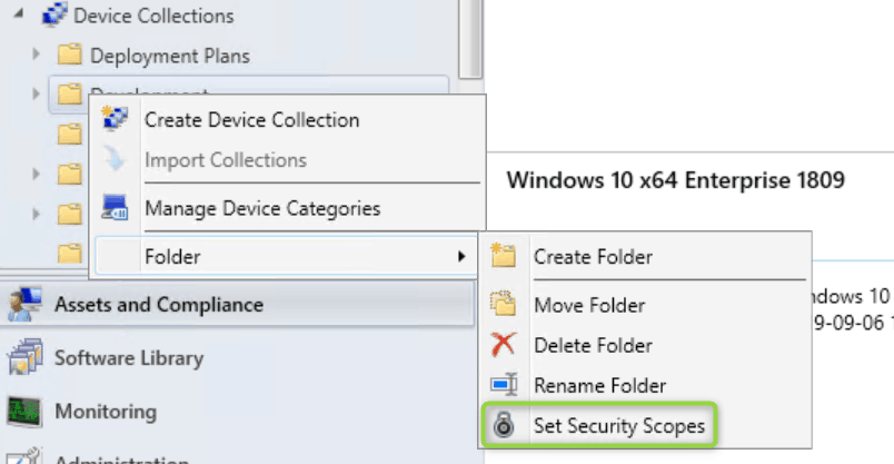 SCCM 1906 - Role Based Access Control RBAC -  Set security scopes on folders