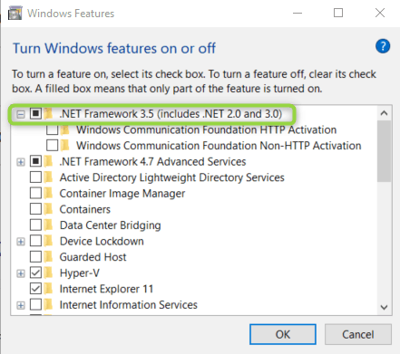 Windows 10 - Turn Windows features on or off
